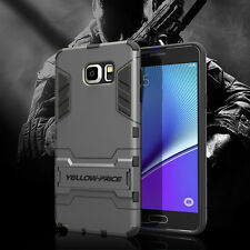 For Samsung Galaxy Note 5 Hybrid Armor Protective Impact Case Stand Cover+Glass