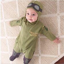 Pilot costume baby little boys air force captain green long sleeve