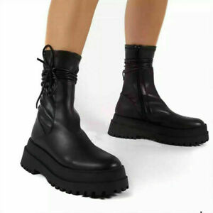 Women Punk Mid Calf Boots Platform High Heels Round Toe Goth Creeper Zipper Shoe