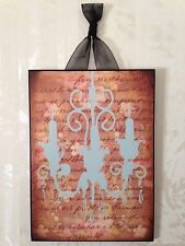 "French Chandelier Plaque Wall Decor Cottage Chic  8"" x 10"""