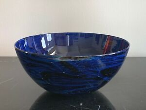 Josh Simpson Signed 1991 Astronomical Cobalt Blue Studio Art Glass Bowl