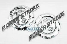 2 NEW CHROME FORD CUSTOM 7.3L F250 F350 POWERSTROKE INTERNATIONAL BADGES EMBLEMS