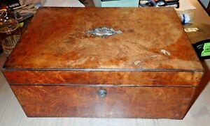 Victorian 1850s Parkins & Gotto Burl Wood Writing Lap Desk w Secret Compartment