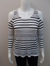 """WITCHERY BLACK/WHITE """"COLD SHOULDER TOP"""" SIZE XS=6/8 (#B18)"""