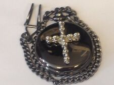 Skulls Cross TG285 Pewter on a Black Pocket Watch Quartz fob