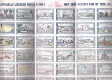 NY WORLD'S FAIR 1939 SHEET OF 54 OFFICIALLY LICENSED POSTER STAMPS