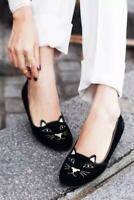 Women Olympia Kitty Cat Velvet Flats Loafers Charlotte Shoes @Black & Gold 34-40