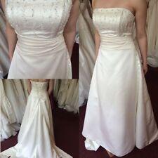 Beading Satin A-line Strapless Wedding Dresses