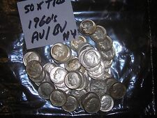1960'S FULL ROLL OF 50 ROOSEVELT SILVER DIME ROLL AU/BU LOT 50 MIXED DATE CH UNC