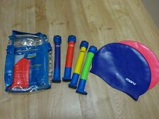 Zoggs & Maru swimming cap with Zoggs swimming toy seal diving sticks bundle