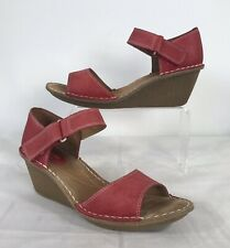 CLARKS Artisan Red Leather Sandals UK 5D
