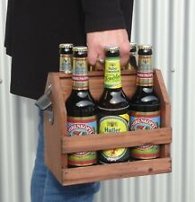 FLASCHENTRÄGER BIERKISTE aus HOLZ mit Flaschenöffner für 6 Bierflaschen     3168