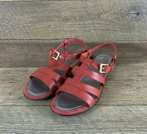 Easy Spirit Roxanna Huarache Red Leather Strappy Flat Sandals Women's Size 9 US