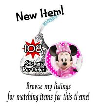 108 Minnie Mouse Birthday Party Baby Shower Hershey Kisses Stickers Clubhouse