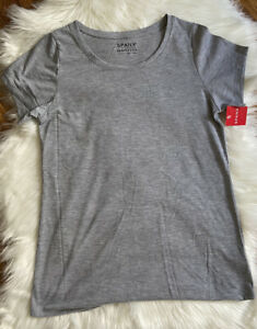 SPANX Perfect Length Short Sleeve T-Shirt Gray Polyester Cotton Top FASHION HAVE