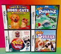 Petz Dolphinz Bunnyz, Monkeyz, Paws Claws Best Game Lot Nintendo DS Lite 3DS 2DS