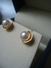 14ct Gold Sublime Setting Silvery Rose Cultured Pearl Stud Earrings AAA Lustre