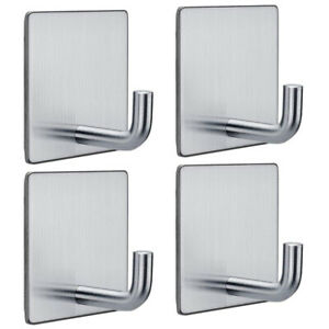 4x Stainless Steel Door Wall Hangers Self Adhesive Clothes Towel Hook Rack R1BO
