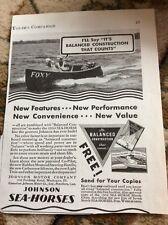 Q1a Ephemera 1930s Advert Johnson Sea Horses 1934 Motor