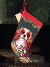 King Cavalier Dog Needlepoint Christmas Stocking NWT