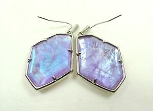 KENDRA SCOTT Dunn Rhodium Plated Drop Earrings In Amethyst Dichroic Glass