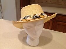Ladies Hat Fun Look  Natural straw Hat with Braided Stripes and Metallic