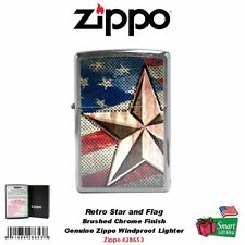 Zippo Retro Star and Flag Lighter, Brushed Chrome, Windproof #28653