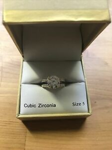 NIB Charter Club Silver Tone Cubic Zirconia Solitaire Ring Size 5