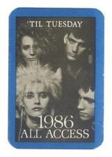 Til Tuesday - Konzert-Satin-Pass 1986 All Access -Schönes Sammlerstück