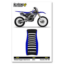 2014 YAMAHA YZF 450 SEAT COVER Ribbed STYLE Blue & Black/White Ribs BY Enjoy MFG