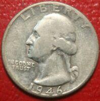1946 Washington Silver Quarter Dollar, Circulated  , US Coin