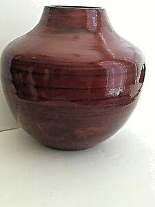"Lacquerware Red  11""T Decorative Vase Eco Friendly 31""Cir  3 3/4"" D Top Vietnam"