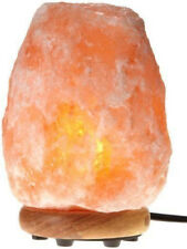 WBM Himalayan Glow 1002 Hand Carved Natural Salt Lamp with Genuine Neem Wood NEW