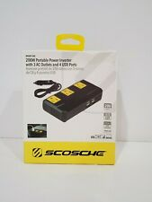 200W Portable Power Inverter with 4 USB ports Black - Scosche New Damaged Box
