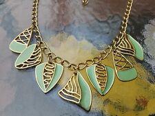 Delightful Vintage Statement Monet Necklace - Sage Enamel & Gold Tone Metal