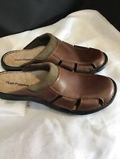 Men's Hush Puppies slip on loafer leather Mule sandal Size 9 Wide Casual Brown