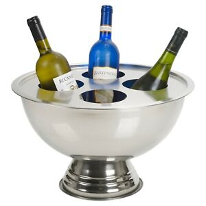 Stainless Steel Round Footed Champagne Bottle Holder Party Bowl Beer Ice Cooler
