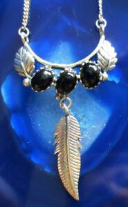 Collana Collier 925 Argento Sterling con Onice Nero Foglia Piuma