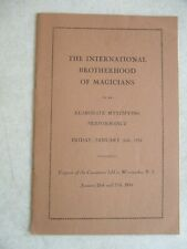 1934 The International Brotherhood Of Magicians Woonsocket Ri Convention Program