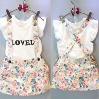 2PCS Toddler Kids Baby Girls Tops T-shirt+Suspender Skirt Outfits Clothes Set UK