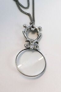 Silver Ornate Magnifying Glass Magnifier Pendant Necklace