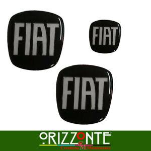 KIT STEMMI FIAT 500/GRANDE PUNTO/BRAVO... ANT+POST+VOLANTE  ADESIVO 3D RESINATO