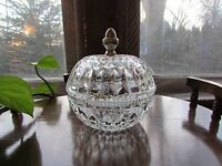 Vintage Clear Cut Glass Pattern Round Candy Dish With Lid