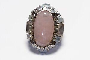 Iradj Moini Wide Rose Quartz Aquamarine Citrine Convertible Brooch Cuff Bracelet