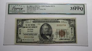 $50 1929 Tulsa Oklahoma OK National Currency Bank Note Bill Charter #5171 VF35!