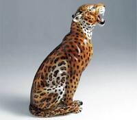 exklusive Dekofigur LEOPARD 95cm Italien Design Keramik handbemalt