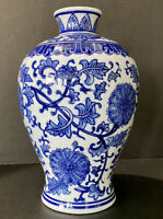 "Hand Painted Blue and White Floral Chinese Porcelain Vase Fine China 11""H Mint"