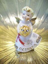 RARE VTG Lefton Blond October Pumpkin Halloween Birthday Angel Girl Figurine