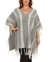 Plus Size UK 20 - 22 Ladies Poncho Shawl Grey Brick with Fringe Hem BNWT #1350
