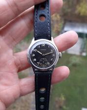 Vintage Monarch WWII era black dial steel watch military 1940's Swiss